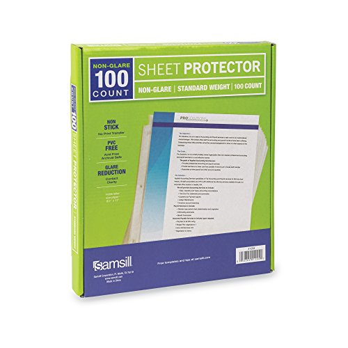 Samsill Standard Weight Non-Glare Poly Sheet Protectors, Box of 100, Acid Free & Archival Safe, Top Loading, Letter Size - 8.5 x 11