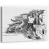 Actorstion N eteenth Century American Man Fend g Off an Alligator Canvas Pr