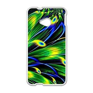 HTC One M7 Cell Phone Case White Colorful Peacock Feather OPZ Make Your Own Phone Case