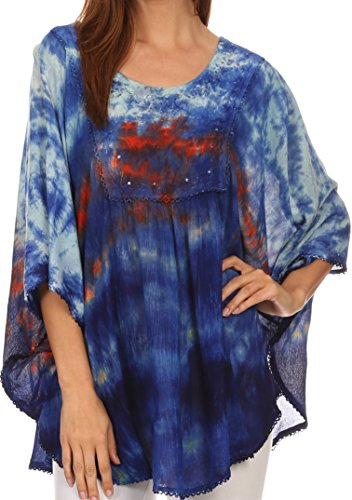 Sakkas 15031 - Lepha Long Wide Multi Colored Tie Dye Sequin Embroidered Poncho Top Blouse - Light Blue - OS