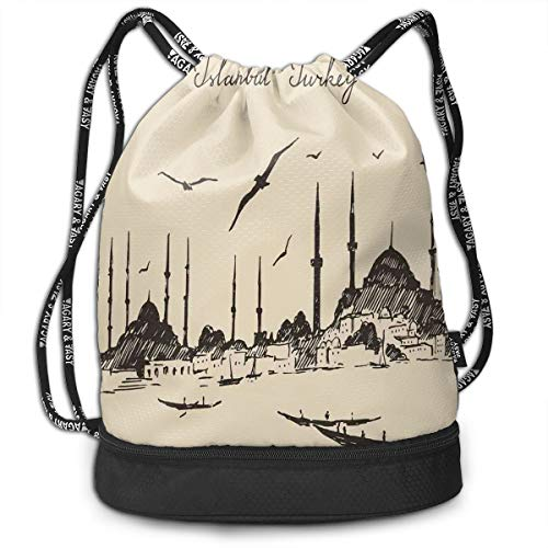 Drawstring Backpacks Bags,Sketch Of Retro Istanbul Skyline With Gulls By Bosphorus Ottoman Heritage,Adjustable