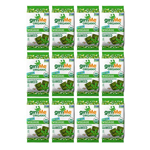 gimMe Snacks - Organic Roasted Seaweed - Wasabi - (.35oz) - (Pack of 12) - non GMO, Gluten Free, Keto, Paleo - Healthy on-the-go snack for kids & adults