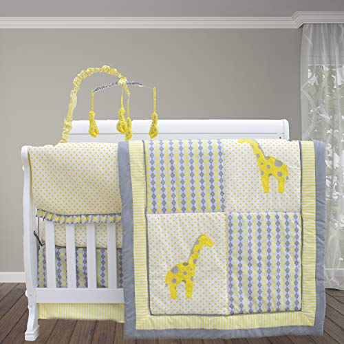i Mix & Match 10 Piece Crib bedding Set/Baby Bedding Set/Yellow and Gray Baby Bedding set for nursery/Safari Crib Bedding Set ()