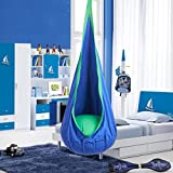 CO-Z Kids Pod Swing Child Hanging Chair Indoor Kid Hammock Seat Pod Nook (Basic Design, Blue)