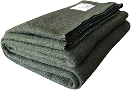 "Grey Warm Winter Wool Camping Blanket 62/"" x 80/"""