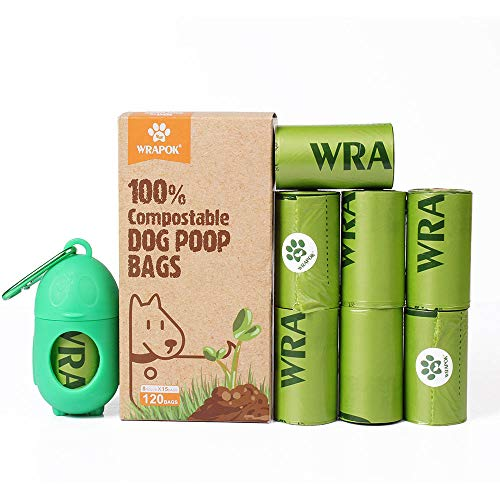 WRAPOK 100% Compostable Dog Poop Bags Large Leak Proof Waste Bag, Extra Thick 0.71 Mils, ASTM D6400 and Certified…