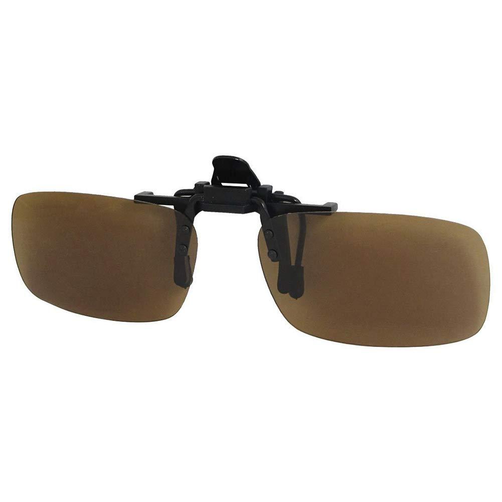 Ruiting Polarisiertem Klipp auf Sonnenbrille Metall Klapp Clip Unisex polarisierte Frameless Rechteck Sonnenbrillen Objektive Gläser Brown Sport-Produkte