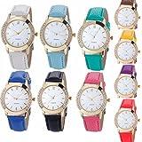 Yunanwa 10 Pack Wholesale Women Watches Leather Rhinestone Inlaid Quartz Jelly Dress Wristwatch