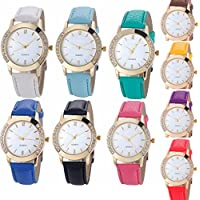 Yunanwa 10 Pack Wholesale Women Watches Leather Rhinestone Inlaid Quartz Jelly Dress Wristwatch