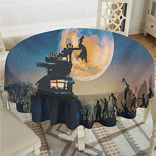 XXANS Round Outdoor Tablecloth,Fantasy World,Dead Queen in Castle Zombies in Cemetery Love Affair Bridal Halloween Theme,High-end Durable Creative Home,60 INCH,Blue Yellow -
