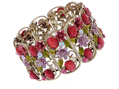 Alilang Antique Floral Pink Crystal Rhinestone Cherry Blossom Flower Berry Bracelet Bangle Cuff -