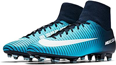 NIKE Men's Mercurial Victory VI DF FG Soccer Cleat (Obsidian, Gamma Blue)