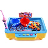 HOBULL Toys for Kids 3-7 Years Old Water Electric Fishing Games Toys With Music Magnetic Fishing Charging Models Can Add Water Playing For Boys Girls