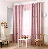LQF Country Home Decor Pink Curtains for Bedroom Living Room Dining Room Teens Kids Girls Room Decorations Drapes , One Panel , W40 x L84 inch