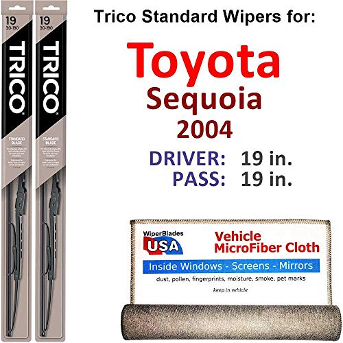 (Wiper Blades for 2004 Toyota Sequoia Driver & Passenger Trico Steel Wipers Set of 2 Bundled with Bonus MicroFiber Interior Car Cloth)