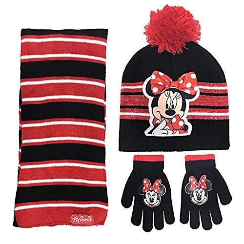 Disney Minnie Mouse Girls 3 Piece Beanie Hat