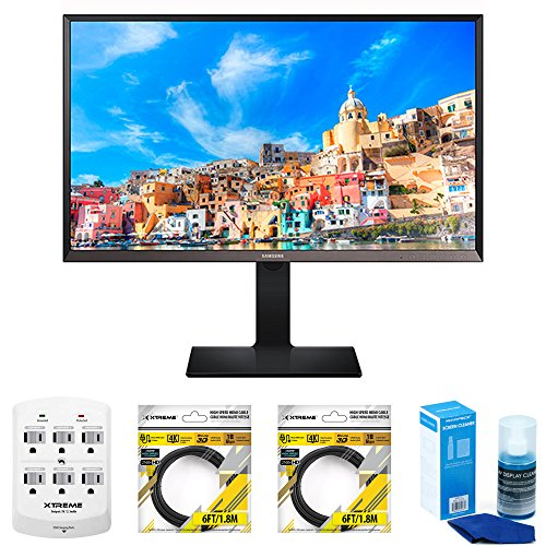 "Price comparison product image Samsung 32"" WQHD LED Monitor (S32D850T) with Xtreme 6 Outlet Wall Tap w/ 2 USB Ports, 2x Xtreme 6 ft HDMI Cable & Xtreme Universal Screen Cleaner for LED TVs Large Bottle"