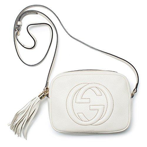 Gucci Soho Leather Disco Bag Mystic White Crossbody Handbag Italy New Leather