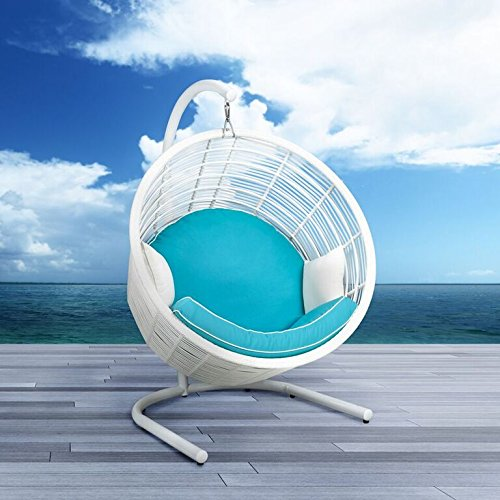 Uptown Club The Homer Collection Modern Wicker Outdoor Bucket Swing with Seat Cushion and Two Throw Cushions, White Frame with Blue Cushion
