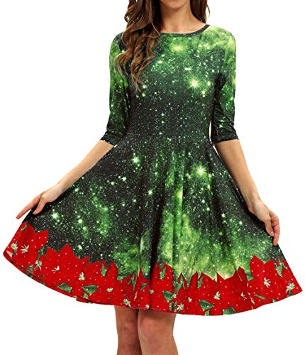 GLUDEAR Women's Funny Christmas Snowflake Print Pullover Flared A Line Dress,Green Galaxy Flower,S/M