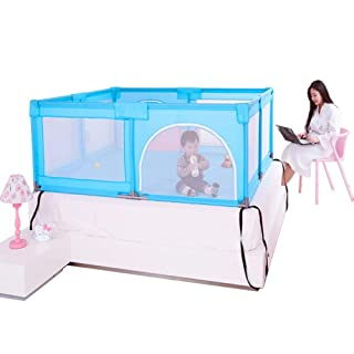 Big Bed Anti-Drop Baffle for Infants, Baby Playpen Indoor Outdoor, Kid's Safety Activity Center, 180x190x70cm (Color : Blue) Kid's Safety Activity Center ERRU