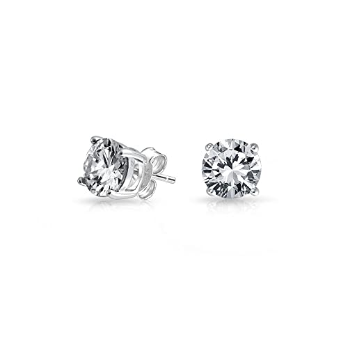 f773842c5d761 1CT Round Cubic Zirconia Brilliant Cut Solitaire CZ Stud Earrings For Women  14K Gold Plated Sterling Silver More Colors