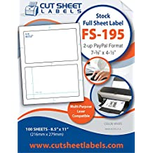 PayPal Format CutSheet Laser/Inkjet High Standard Adhesive Full Sheet Blank Labels (100 sheets)