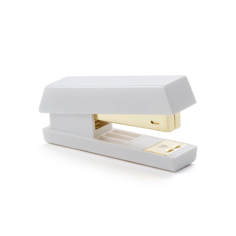 Zodaca [Pure White Design] Desk Stapler, 15 Sheets Capacity for Office/School / Home, White/Gold