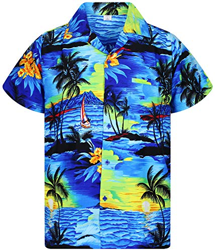 973fd1ee V.H.O Funky Hawaiian Shirt for Men Shortsleeve Front-Pocket Casual Button  Down Surf
