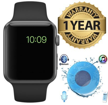 MacBerry Apple iPhone SE Compatible High Quality Touch Screen Bluetooth Smart Watch with SIM Card Slot And NFC Cell Phone Watch Phone Remote Camera + Bluetooth Waterproof Speaker ( Random Color)