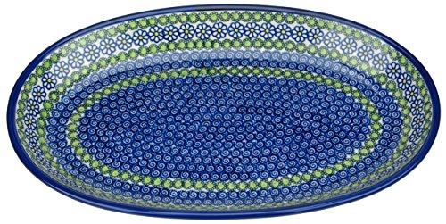 Ceramika Boleslawiecka Kalich Polish Hand Painted Oval Serving Platter 14.25