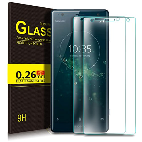 KuGi Sony Xperia XZ2 Screen Protector, 9H Hardness HD Clear Bubble Free Installation High Responsivity Easy Installation Tempered Glass for Sony Xperia XZ2 Smartphone.Transperant[2Pack]