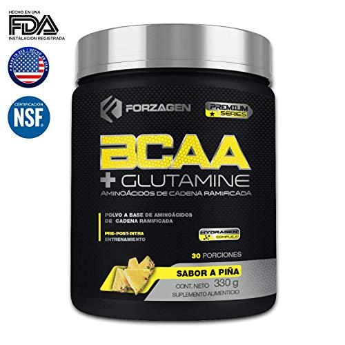 Aminoacidos BCAA + Glutamina + Complejo de Hidratación Hydragen (Calcio + Agua de Coco) Forzagen 330 g Piña Suplemento Gym...