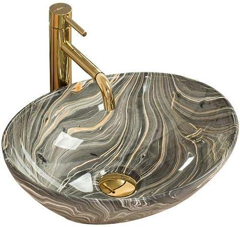 345x410 mm, Gold//Wei/ß REA Aufsatzwaschbecken Sofia Oval Modern