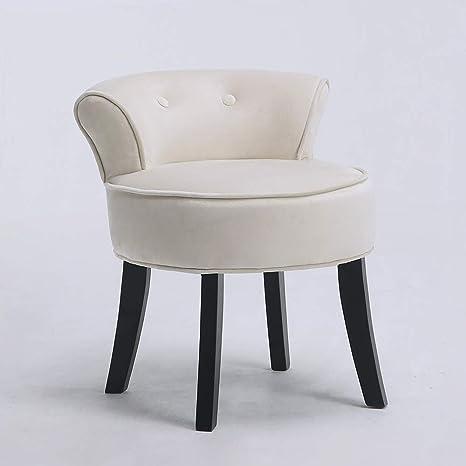Stools & Breakfast Bars Dressing Table Chair Velvet Vanity Stool Bedroom Chair with Back and Wooden Legs