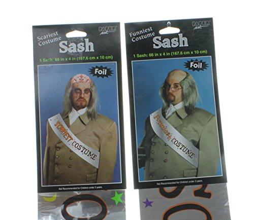 Paper Art Lot of 2 Halloween Party Funniest and Scariest Costume Award Sashes Foil Prize ()