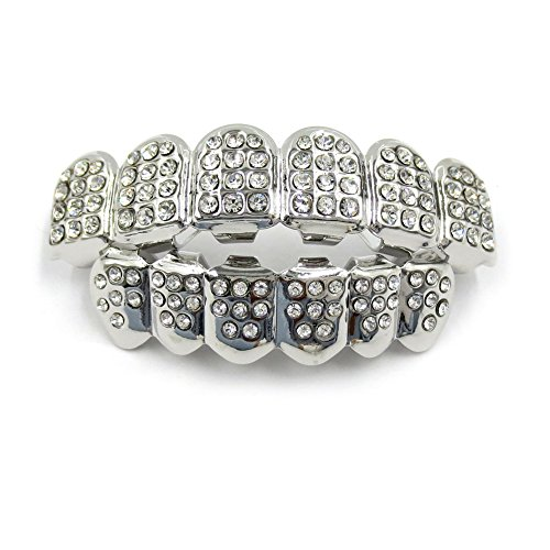 Silver Grill Teeth - JINAO 14K Gold Plated ICED OUT CZ Teeth GRILLZ Top Bottom Tooth Caps Hip Hop Bling NEW Gold shiny Grills (SILVER)
