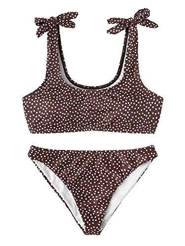 SweatyRocks Women's Bathing Suits Polka Dot Halter Swimsuit Brown Brown Polka Dot Bikini