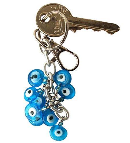 Ebsem Blue Bunch of hearts Good Luck Evil Eye Keychain Keyrings decorative Turkish - Greek - Eye Good Luck Charm Keychain