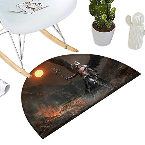 - Fantasy World Semicircular Cushion Knight with Wings Feathers Angel Devil Moon Fire Fantasy Night Illustration Entry Door Mat H 27.5