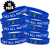 Fight Like a Girl They All Matter Silicone Wristband Bracelets Cancer Awareness 10-Pack (Blue)