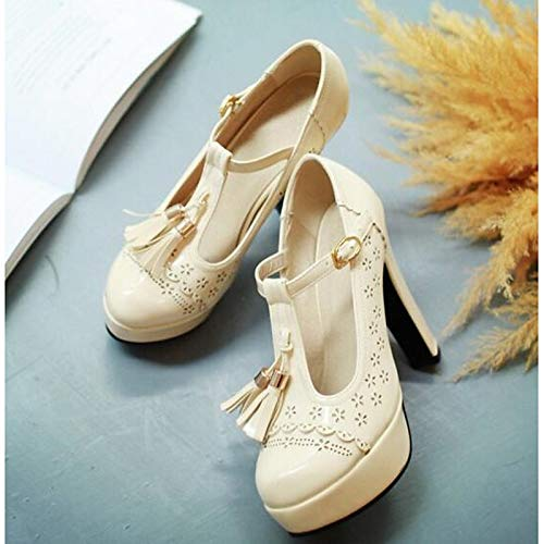 Beige Zapatos ZHZNVX Poliuretano Pump Basic Spring Heel Beige Black Stiletto Tacones Almond PU Mujer de BRnrgB7