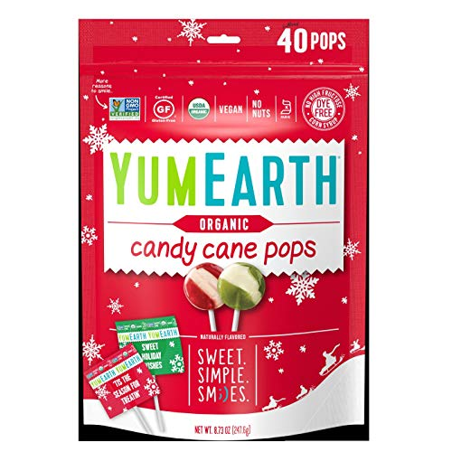Christmas Yum Earth Organic Candy Cane Pops- 40ct