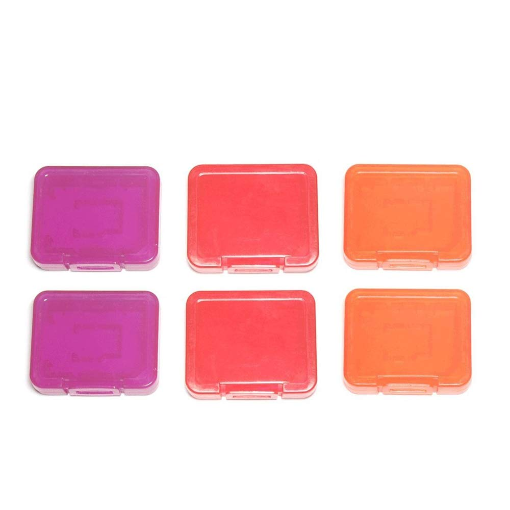Assecure individual tough plastic storage case holder covers for SD SDHC SDXC& Micro SD memory cards - 6 pack (semi transparent)orange, red & purple product image