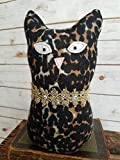 10'' Tall Ragamuffin Ugly Sweater Handmade Kitty Cat Art Doll Leopard Stuffed Animal Cat Lovers Gift