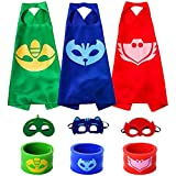 The Mass Catboy Owlette Gekko Costumes, Superheros Capes Mask Matching Slap Bracelet Kids Costume Dress up