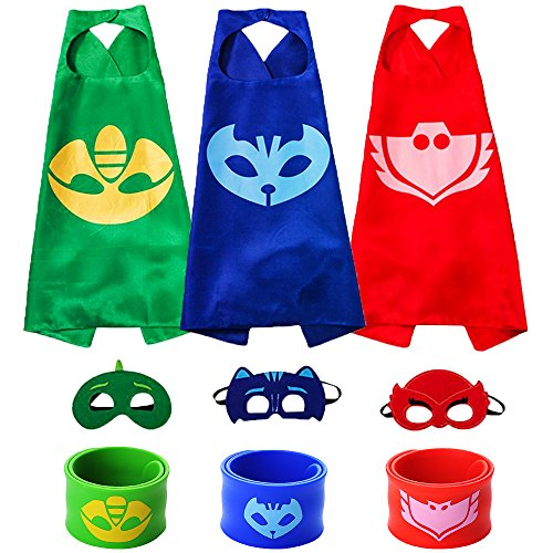 The Mass Catboy Owlette and Gekko Costumes, Superheros Capes and Mask Matching Slap Bracelet for Kids Costume and Dress up