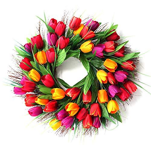 (Tulip Spring Artificial Front Door Wreath,Floral Twig Wreath Artificial Flowers Garland for Front Door,Wall,Wedding,Home Decor)
