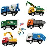 HALO NATION Construction Vehicle Set 6 pcs - Dumper + JCB + Cement Mixer + Transport Truck + Garbage Truck+ Container + Crain - Unbreakable ABS Plastic Friction Powered Kids Automobile Toy Set - Assured Quality