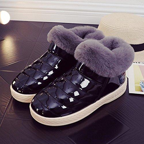 Inverno fankou cotone pantofole pacchetto femmina con un soggiorno al coperto e gli amanti della vita all'aperto caldo antiscivolo scarpe di cotone uomini e ,46/47, nero